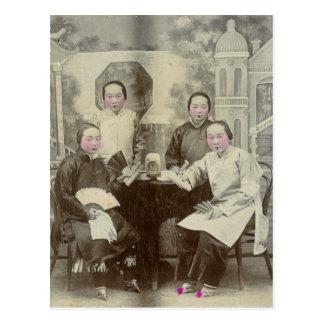 Carte Postale Membres de la distribution, opéra de Pékin, circa