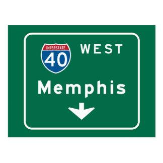 Carte Postale Memphis, panneau routier de TN