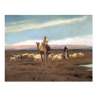 Carte Postale Menant le troupeau pâturer (huile sur la toile)