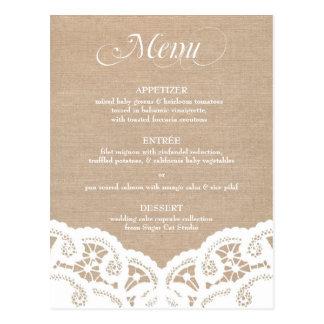 Carte Postale Menu blanc de mariage de napperon de dentelle de