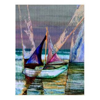 Carte Postale Mer abstraite de turquoise de voilier