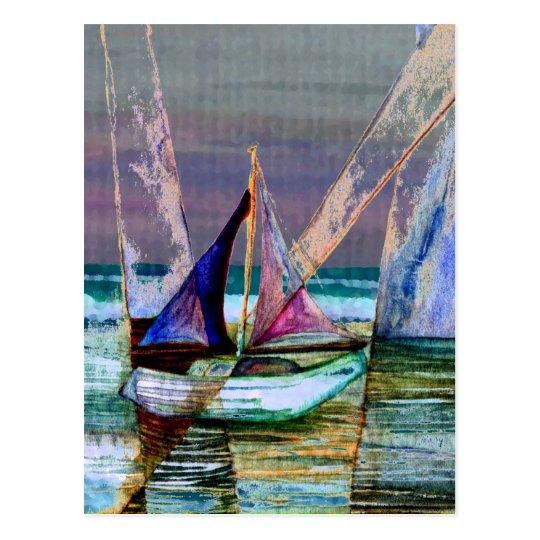 Carte Postale Mer abstraite de turquoise de voilier | Zazzle.fr