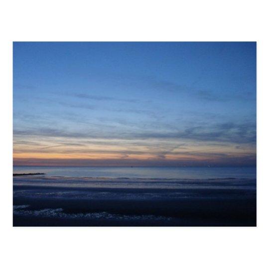 Carte postale mer du Nord, coucher du soleil