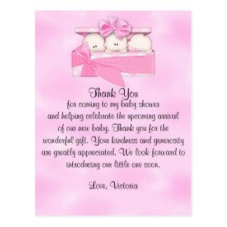 Carte Postale Merci de baby shower c'est fille de triplets