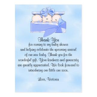 Carte Postale Merci de baby shower c'est garçon de triplets