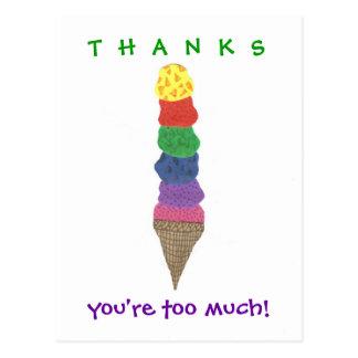Carte Postale Merci de crème glacée