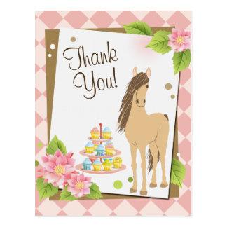 Carte Postale Merci de fleurs de joli de Brown cheval et de rose