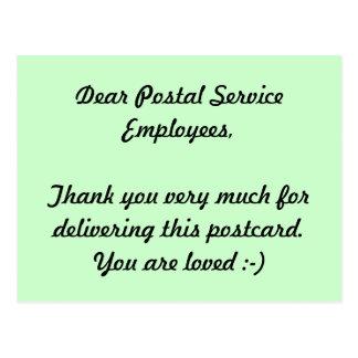 Carte Postale Merci des employés de service postal