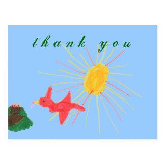 Carte Postale Merci du nid de l'oiseau de graphiques du karaté