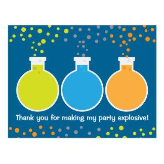 Carte Postale Merci fou de fête d'anniversaire de scientifique