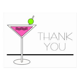 Carte Postale Merci rose de cocktail de Bachelorette Martini