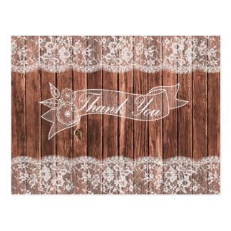 Carte Postale Merci rustique en bois de pays de dentelle et de