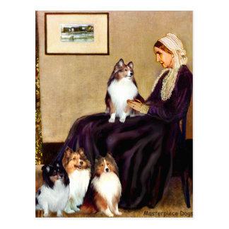 Carte Postale Mère de siffleurs des chiens de berger de Shetland