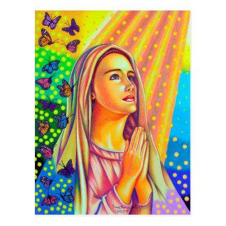 Carte Postale Mère Mary priant avec la lumière d'en haut