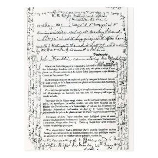 Carte Postale Message de John Franklin