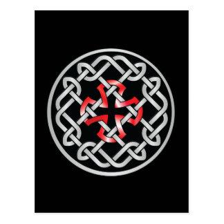 Carte postale métallique rouge de noeud celtique