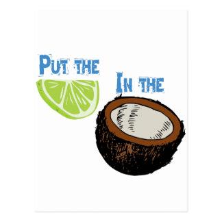 Carte Postale Mettez la chaux dans la noix de coco !
