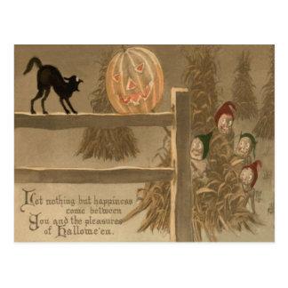 Carte Postale Meule de foin de citrouille de Jack-o'-lantern de