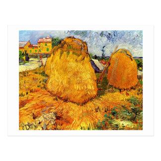 Carte Postale Meules de foin en Provence par Van Gogh.