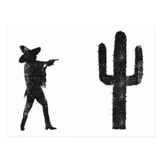 Carte Postale Mexicain contre le cactus