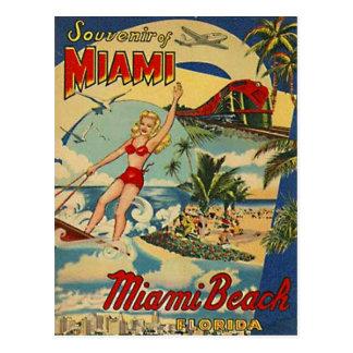 Carte Postale Miami Beach vintage, la Floride, Etats-Unis -