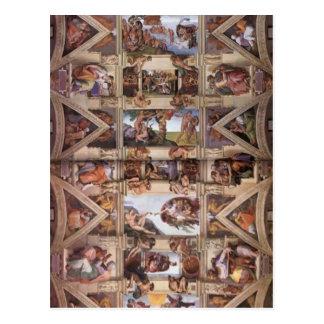 Carte Postale Michaël Angelo : Plafond de chapelle de Sistine