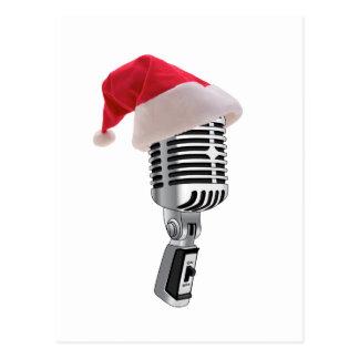 Carte Postale microphone de père Noël