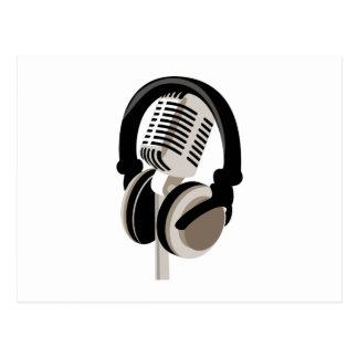 Carte Postale Microphone vintage avec des écouteurs
