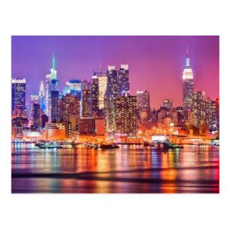 Carte Postale Midtown Manhattan la nuit avec l'empire Stae