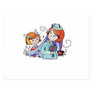 """Carte Postale Mignon, """"Flowergirl et jeune mariée"""" concevez"""