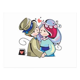 """Carte Postale Mignon, """"jeunes mariés"""" épousant la conception"""
