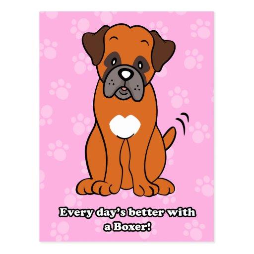Carte postale mignonne de boxeur de chien de bande