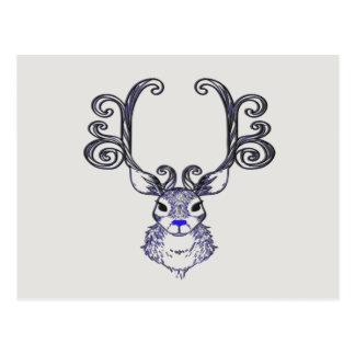 Carte postale mignonne de cerfs communs de renne