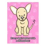 Carte postale mignonne de chiwawa de chien de band