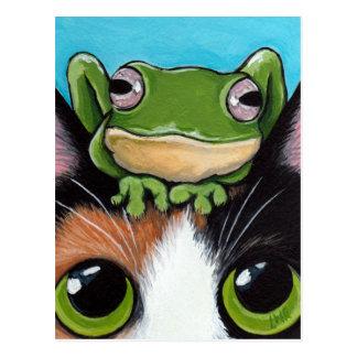Carte postale mignonne de grenouille et de chat