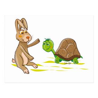 Carte postale mignonne de lièvres et de tortue