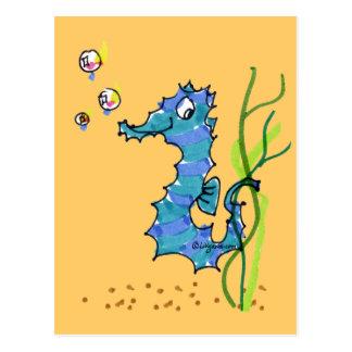 Carte postale mignonne de poissons d'hippocampe de