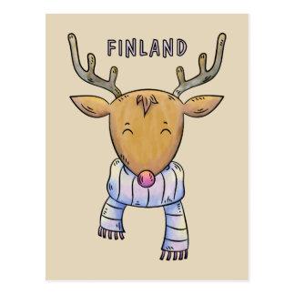Carte postale mignonne de renne de la Finlande