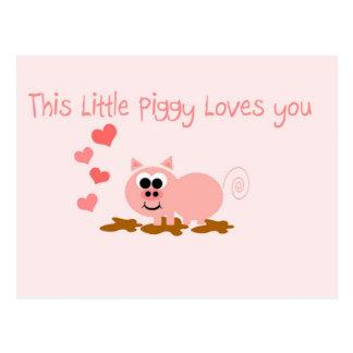 Carte postale mignonne de Saint-Valentin de porc