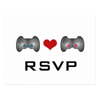 Carte postale mignonne rose bleue du Gamer RSVP