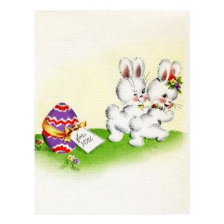 Carte postale mignonne vintage de Pâques de lapin