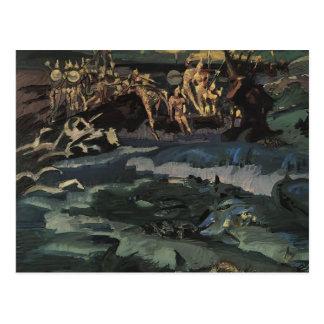 Carte Postale Mikhail Vrubel- trente-trois chevaliers