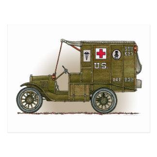 Carte postale militaire vintage d'ambulance