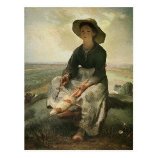 Carte Postale Millet de Jean-Francois la jeune bergère