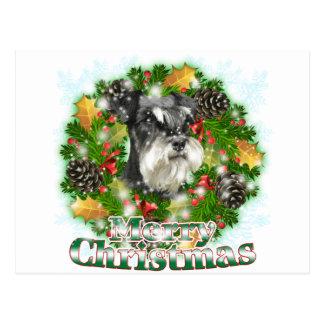 Carte Postale Miniature Schnauser de Joyeux Noël