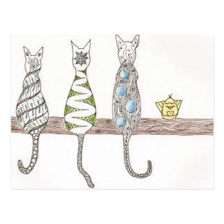 Carte Postale Minous de zen - chats de ZIA de griffonnage