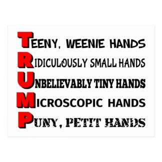 Carte postale minuscule d'atout de mains