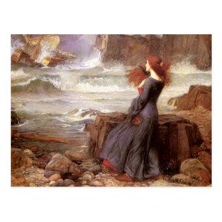 Carte Postale MiRANDA - la tempête, par John William Waterhouse