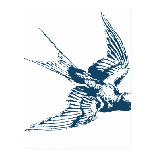 Carte Postale Miscellaneous - Blue Vintage: Flying Bird