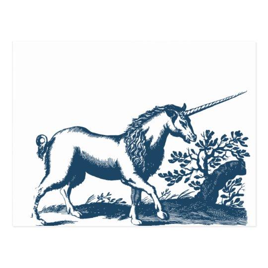 Carte Postale Miscellaneous - Blue Vintage: Unicorn